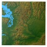 Map of Washington Large Square Tile