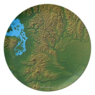 Map of Washington Melamine Plate