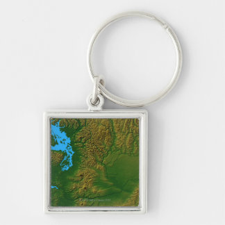 Map of Washington Silver-Colored Square Keychain