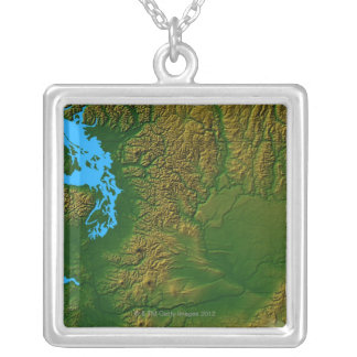 Map of Washington Silver Plated Necklace