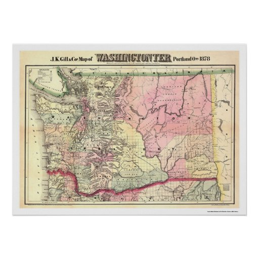 Map of Washington Territory by JK Gill 1878 Print