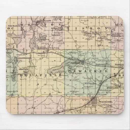 Map of Waukesha County, State of Wisconsin Mouse Pad