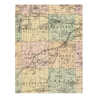 Map of Waukesha County, State of Wisconsin Post Cards