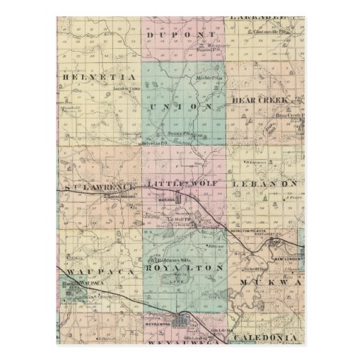 Map of Waupaca County, State of Wisconsin Postcard