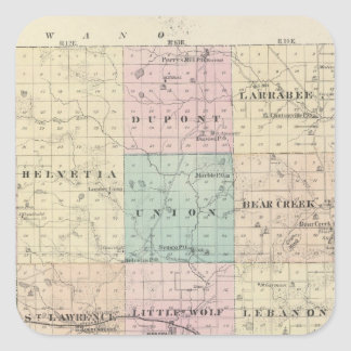 Map of Waupaca County, State of Wisconsin Square Sticker
