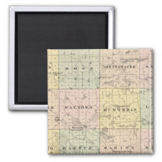 Map of Waushara County, Necedah and Wautoma 2 Inch Square Magnet