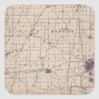 Map of Wayne County 2 Square Sticker