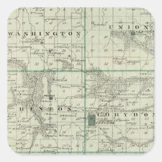 Map of Wayne County, State of Iowa Square Sticker