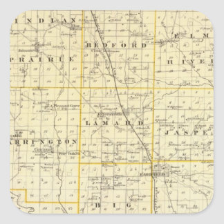 Map of Wayne County Square Stickers