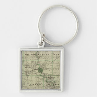 Map of Webster County, State of Iowa Keychain