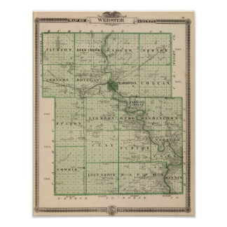 Map of Webster County, State of Iowa Poster