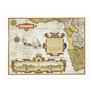 Map of West African coastline, 1596 (hand coloured Postcard