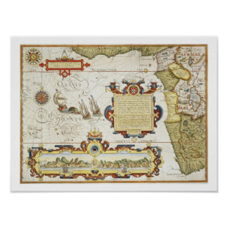 Map of West African coastline, 1596 (hand coloured Poster