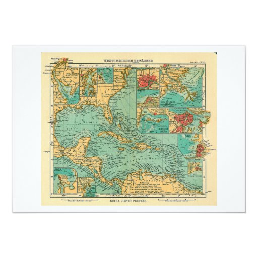 Map of West Indies from 1906 in German Card