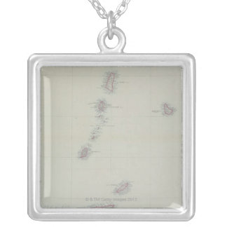 Map of West Indies Silver Plated Necklace