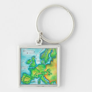 Map of Western Europe Keychain