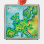 Map of Western Europe Square Metal Christmas Ornament