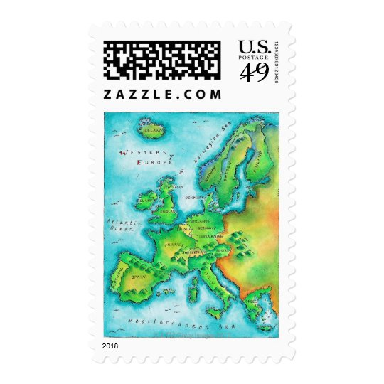 Map of Western Europe Postage