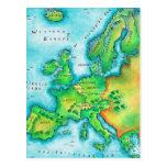 Map of Western Europe Postcard