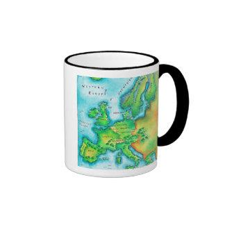 Map of Western Europe Ringer Mug