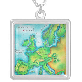 Map of Western Europe Square Pendant Necklace