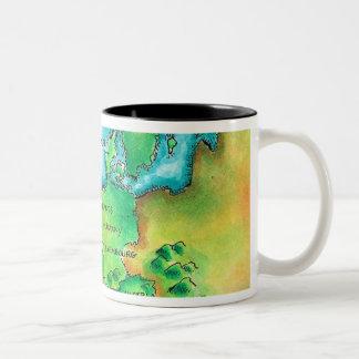 Map of Western Europe Two-Tone Coffee Mug