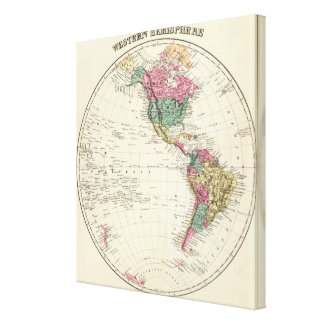 Map of Western Hemisphere Stretched Canvas Print