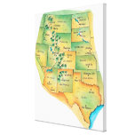 Map of Western United States Canvas Prints