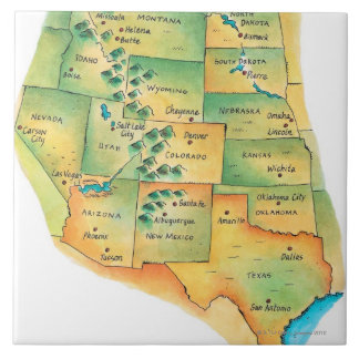 Map of Western United States Ceramic Tile