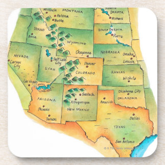 Map of Western United States Drink Coasters