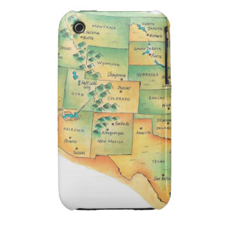 Map of Western United States iPhone 3 Case-Mate Case