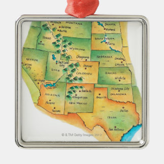 Map of Western United States Metal Ornament