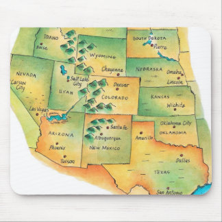 Map of Western United States Mouse Pad