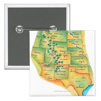 Map of Western United States Pinback Button