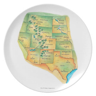 Map of Western United States Plate