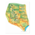 Map of Western United States Postcard