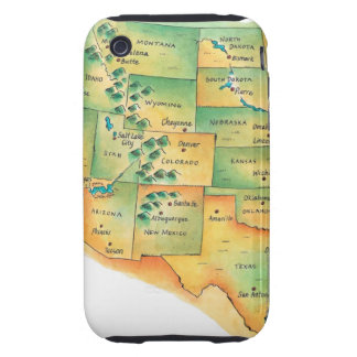 Map of Western United States Tough iPhone 3 Cover