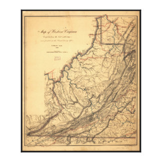 Map of Western Virginia by W. L. Nicholson (1862) Canvas Print