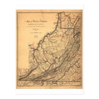 Map of Western Virginia by W. L. Nicholson (1862) Postcard