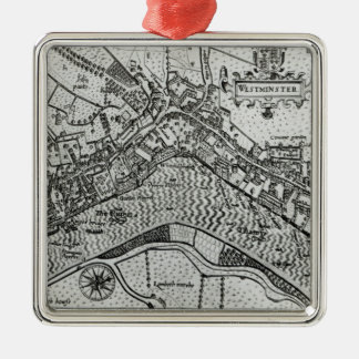 Map of Westminster from 'Speculum Britannia' Metal Ornament