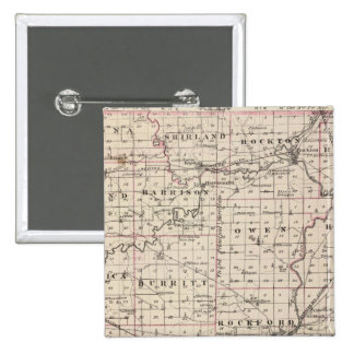 Map of Winnebago County and Belvidere Pinback Button