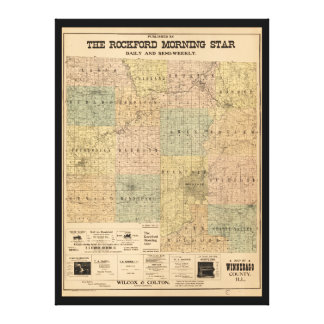 Map of Winnebago County Illinois (1902) Canvas Print