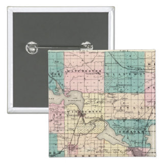 Map of Winnebago County, State of Wisconsin Button