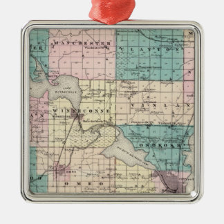 Map of Winnebago County, State of Wisconsin Christmas Ornaments
