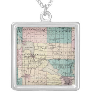 Map of Winnebago County, State of Wisconsin Silver Plated Necklace