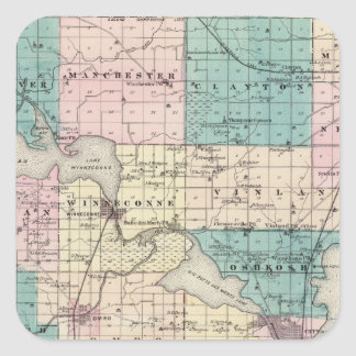 Map of Winnebago County, State of Wisconsin Square Sticker