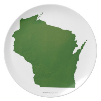 Map of Wisconsin Dinner Plate