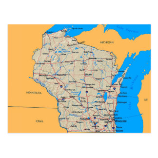 Map of Wisconsin Post Cards
