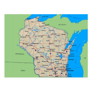 Map of Wisconsin Post Cards (Green)