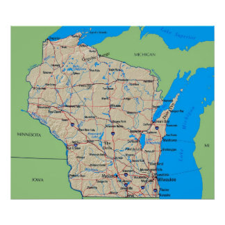 Map of Wisconsin Poster Green (in many sizes)